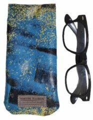 Blauwe Toetie & Zo Handgemaakte Leren Brillenkoker Paint - Verfprint - Knijpsluiting - Brillenetui - Brillentas - Leder - Snappouch