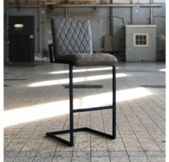 Bronx71 Industriële barstoel Diamond olijfgroen leer 79 cm