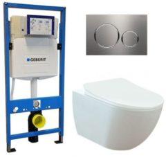 Douche Concurrent Geberit UP 320 Toiletset - Inbouw WC hangtoilet Wandcloset - Creavit Mat Wit Rimfree Geberit Sigma-20 RVS Geborsteld