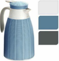 Creme witte Merkloos / Sans marque 2x Creme rotan thermoskannen/isoleerkannen 1 liter - Keukenbenodigdheden - Warme dranken serveren/meenemen - Koffiekannen/theekannen - Isoleerkannen/thermoskannen