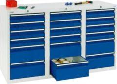 Stumpf Metall Stumpf® STS 410 Schubladenschrank mit 18 Schubladen, lichtgrau / blau - 90 x 150 x 50 cm