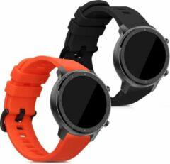 Kwmobile 2x horlogeband voor Xiaomi Huami Amazfit GTR (47mm) / GTR 2 - siliconen band voor fitnesstracker - zwart / rood