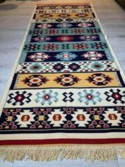 Sunar Home Kelim vloerkleed Yamadi - Kelim tapijt -Kelim kleed - Oosterse Vloerkleed - 80x300 cm - Loper - Bankkleed