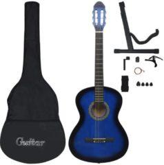 "Blauwe Vida 12 delige Classical Guitar Beginner Set Blue 4/4 39"""