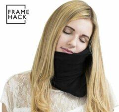 Framehack Zacht Travel Pillow Reiskussen inclusief 3D slaapmasker & oordopjes – Wetenschappelijk bewezen ergonomische houding bij rust – Nekkussen – Compact + Comfortabel, Auto, Vliegtuig, Backpacken - Reiskussentje – Neksteun Nek Support – Zwart