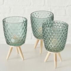 Boltze Set van 3 sfeerlichten van groen glas op houten voet