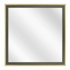 Merkloos / Sans marque Spiegel met Tweekleurige Houten Lijst - Groen / Blank - 20x20 cm
