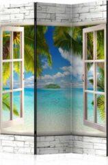 Blauwe Kamerscherm - Scheidingswand - Vouwscherm - Dream Island [Room Dividers] 135x172 - Artgeist Vouwscherm