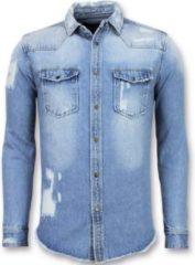 Enos Lange Spijkerblouse - Denim Overhemd Heren - Blauw Casual overhemden heren Heren Overhemd Maat M