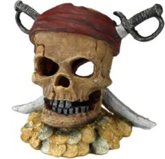 Aqua Della Decor Pirate Skull Sword Head - Aquarium - Ornament - 21.5x16.5x20 cm