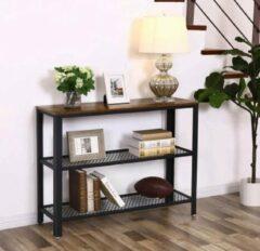 MIRA home MIRA TV meubel - Dressoir - Bijzettafel - Schoenrek - Vintage - Industrieel - Zwart/bruin - Roosters - IJzer - Hout - 101,5x35x80