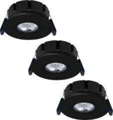 Hoftronic Set van 3 stuks LED inbouwspots Napels IP65 8 Watt 2700K dimbaar 360° kantelbaar zwart