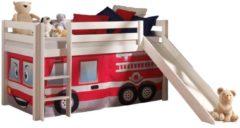 Witte Vipack Pino Halfhoogslaper met Glijbaan en Fire Rescue Gordijn 90 x 200 cm