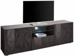 Antraciet-grijze Pesaro Mobilia Tv-meubel Kristal 181 cm breed in hoogglans antraciet