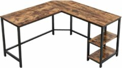 Bruine Furnihaus - Computer tafel - Hoek Bureau - Idustrieel - Vintage - Hout - Metaal - 138x138x75cm