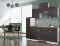 Grijze Respekta ® keukens Kleine keuken Meister B180cm wit met apothekerskast