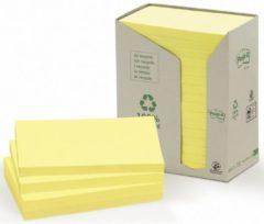 Post-it® Recycled Zelfklevend Notitieblok, 76 x 127 mm, geel, 100 vel, torenverpakking (pak 16 blokken)