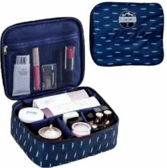 Donkerblauwe Reismonkey Toilettas met Veren Print – Voor Op Reis/Vakantie/Kamperen – Travel Bag Organizer voor Dames/Meisje – Make-up Tas/Cosmetic Bag – Reisartikelen - Kerstcadeau - Kerstcadeau voor dames/vrouwen