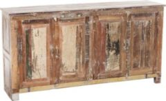 CLP Exklusives Sideboard SALITA aus massivem recyceltem Teakholz, 4 Türen & 4 Fächer, 175 x 45 cm, Höhe 90 cm