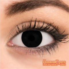 KawaEyes Full Black partylenzen halloween - incl. lenzendoosje - kleurlenzen - crazy lenzen - jaarlenzen - zwart - carnaval - feest