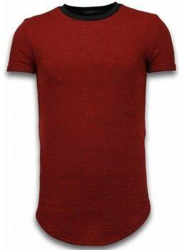 Afbeelding van Rode T-shirt Korte Mouw John H 3D Encrypted T-shirt - Long Fit Shirt Zipped