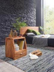 Wohnling Nachttisch MUMBAI Massiv-Holz Sheesham Nacht-Kommode 53 cm 1 Schublade Ablage Nachtschrank Landhaus-Stil Echt-Holz