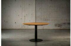 Zwarte Seuren Tafels BUD GET 5 - 120 x 76 - Massief honing eiken houten rond tafelblad met metalen potenset