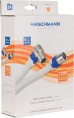 Witte Hirschmann F-KAB 5 4G/LTE proof F (m) - IEC (v) haaks coaxkabel - 1,5 meter