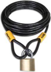 Zwarte Lynx kabelslot 10 meter lang | ø10mm x 1000cm | Staalkabel met lussen en hangslot | Slot tuinmeubelen terras bootslot