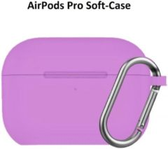 Lichtblauwe Ntech Apple AirPods Pro Soft Silicone Hoesje Met sleutelhanger - Paars
