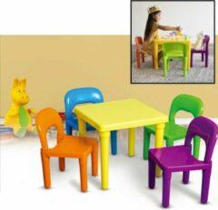 Kindertafel met stoeltjes van kunststof - 1 tafel en 4 stoelen voor kinderen - Multi Color Gekleurde Tafel & Stoelen - Kleurtafel / speeltafel / knutseltafel / tekentafel / zitgroep set - Kindertafel en stoeltjes - Decopatent®