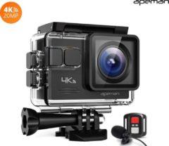 Apeman - A79 Action Camera Inclusief Microfoon en 32GB SD Kaart - Wifi Functie - 4K Ultra-HD - 40 Meter Waterbestendig - 20 MP - Onderwatercamera - 5cm Display / 30FPS / 2 Accu's / Zwart