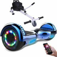 Evercross 6.5 inch Hoverboard met Flits Wielen + TAOTAO moederbord, Elektrische Zelfbalancerende Scooter,Bluetooth Speaker,LED verlichting - Blauw Chroom + Hoverkart Wit