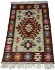 Sunar Home Kelim Vloerkleed Konya - Kelim kleed - Kelim tapijt - Oosterse Vloerkleed - 60x90 cm - Loper - Bankkleed - Plaid - met kleine cadeau