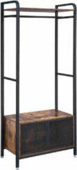 MIRA Home - Kapstok - Kledingkasten slaapkamer - Hout/Metaal - Zwart/Bruin - Industrieel - 80x40x180