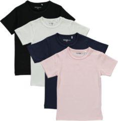 Dirkje Meisjes Shirts Korte Mouwen (4stuks) Zwart, Blauw, Lichtroze en Wit - Maat 104