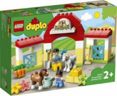 Rode LEGO Duplo Paardenstal en pony's verzorgen - 10951