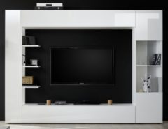 Pesaro Mobilia Tv-wandmeubel Marina 295 cm breed in hoogglans wit
