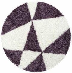 TANGO SHAGGY Himalaya Maxima Soft Shaggy Rond Hoogpolig Vloerkleed Paars / Wit- 120 CM ROND