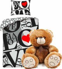 B&B Slagharen Rood Hart dekbedovertrek set 140 x 200 cm - Love dekbed - incl. super zachte knuffelbeer knuffel bruin 26 cm , kinderen slaapkamer eenpersoons dekbedovertrek - teddybeer beren knuffel pluche