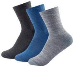 Blauwe Devold - Daily Light Kid Sock 3-Pack maat 31-34 grijs/blauw/zwart