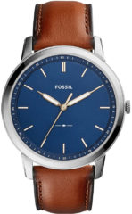 Fossil Horloge FS5304 The Minimalist staal/leder blauw-cognac