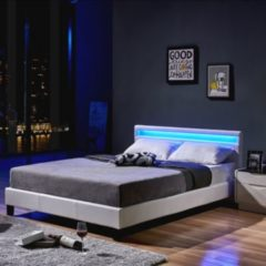Home Deluxe LED Bett Astro 140x200, weiß