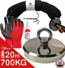 Brute Strength Vismagneet set - 700KG - 20 m touw - Handschoenen - Dreghaak - Prikstok adapter - Magneetvissen starterspakket - Borgmiddel (10 ml)