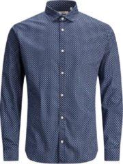 Blauwe Jack & Jones Jprblablackpool Stretch Shirt L/s S 12183779 Navy Blazer/slim Fit