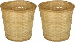 Beige Merkloos / Sans marque Pakket van 4x stuks ronde rieten/bamboe manden/mandjes 26 x 24 cm - Keuken artikelen opberg manden - Huis decoratie/accessoires