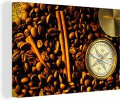 OneMillionCanvasses Canvas Schilderij Kompasroos - Kompasroos tussen koffiebonen en kaneelstokjes, canvas 2cm - 120x80 cm - Foto print op Canvas schilderij (wanddecoratie woonkamer / slaapkamer)