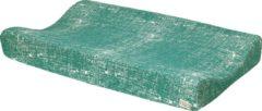 Donkergroene Meyco aankleedkussenhoes Fine lines emerald green