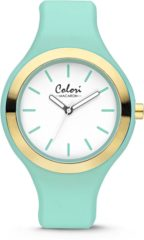 Colori Watches Colori Macaron 5 COL431 Horloge - Siliconen Band - Ø 42 mm - Mint / Goudkleurig
