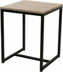 Gebor Trendy Bijzettafel - Koffietafel - Side table - Vierkant - Industrieel design - Houten blad - Metalen frame - 50x40x40cm – Bruin/Zwart - Modern